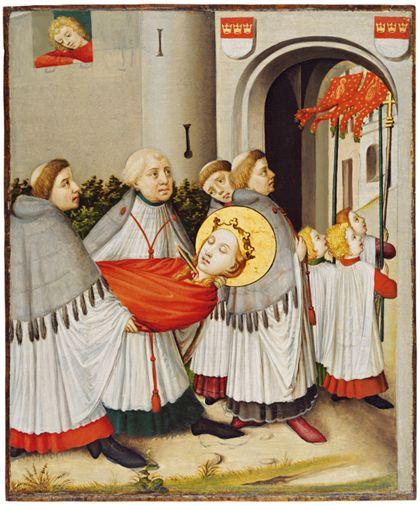 Das Gemälde zeigt wie der Leichnam der heiligen Ursula von Geistlichen durch das Stadttor von Köln getragen wird.