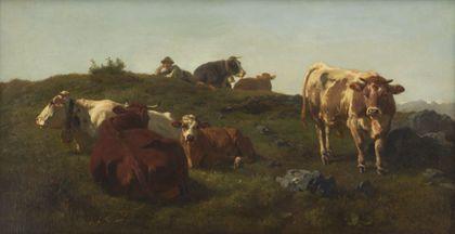 Sechs Kühe, auf der Weide ruhend. Der Hirte liegt bei ihnen.