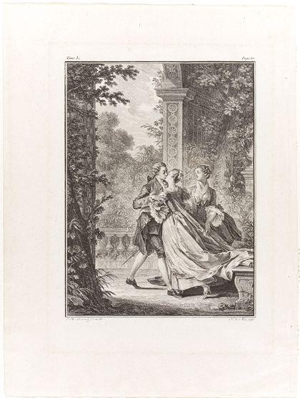 Ein sich küssendes Paar im Garten. Eine weitere Frau steht im Hintergund.