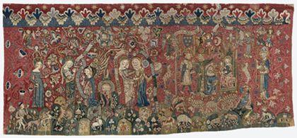 Bildteppich mit Szenen des Marienlebens auf rotem, reich verziertem Grund.