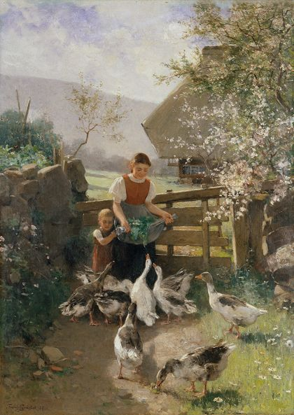 Franz Xaver Gräßel Children with Geese