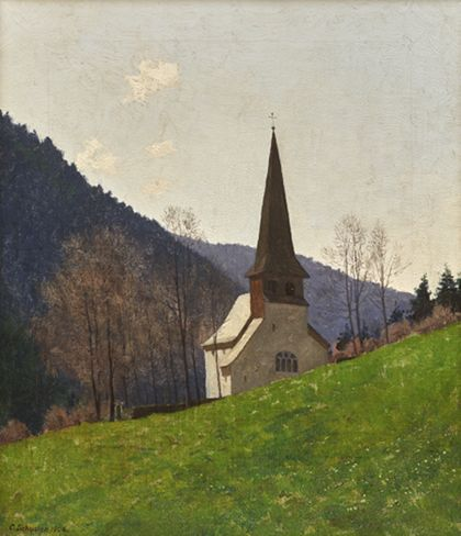 Die Oswaldkapelle vor den Hängen des Höllentals.