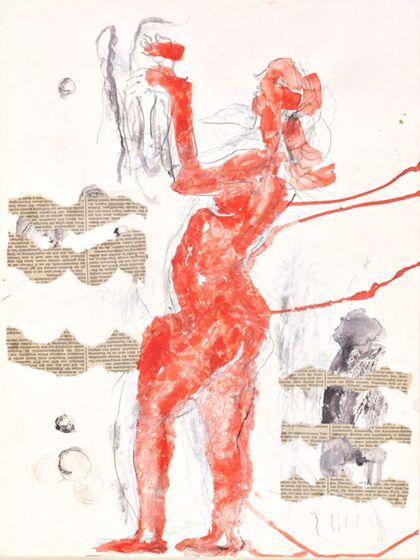 Aquarell mit rotfarbigem Frauenakt nach links mit nach oben gerichteten, angewinkelten Armen