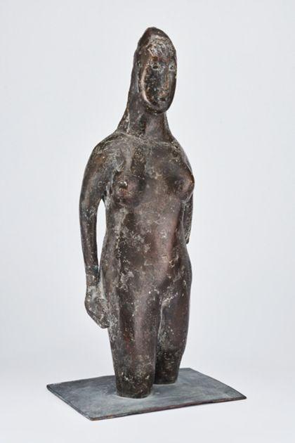 Bronzeskulptur eines weiblichen Dreiviertelaktes