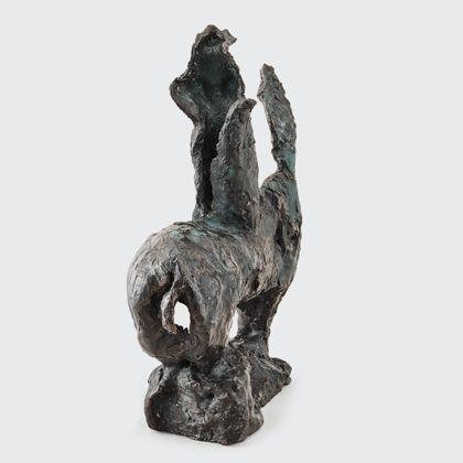 Perforierter Reitertorso aus Bronze, Rückansicht