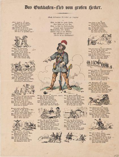 Liedpassagen mit zugeordneten Zeichnungen umrahmen die farbige Zeichnung eines uniformierten Mannes.