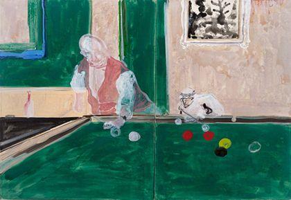 Billardtisch mit zwei Spielern in perspektivisch gestaltetem Innenraum