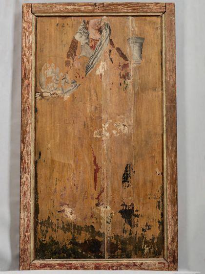 Linker Flügel eines Altars in Originalrahmen mit der Darstellung der Geburt Christi, Rückseite.