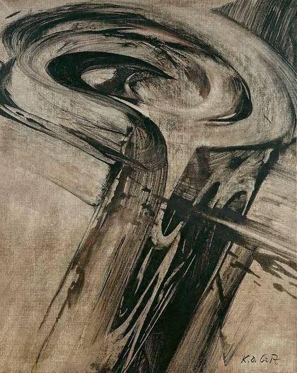 Schwarzes abstraktes Gebilde mit spiralförmigem Abschluss