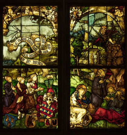 Oberrheinisch Blumenegg Windows with scenes from the Passion of Christ and Donors