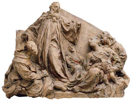 Kleinformatiges Tonrelief mit der Darstellung der Predigt des heiligen Gallus.