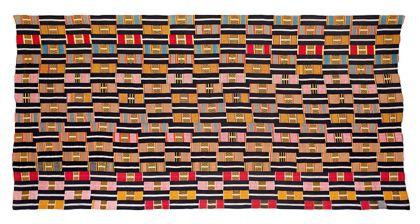 Tuch aus Baumwolle, gefertigt in Schmalbandweberei. Die verarbeiteten Farben sind schwarz, weiß, grün, gelb, rot, orange und blau.