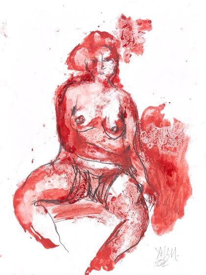 Sitzende Frau in Rot von vorne mit entblöstem Oberkörper