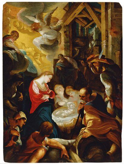Die Hirten beten das Jesuskind an.