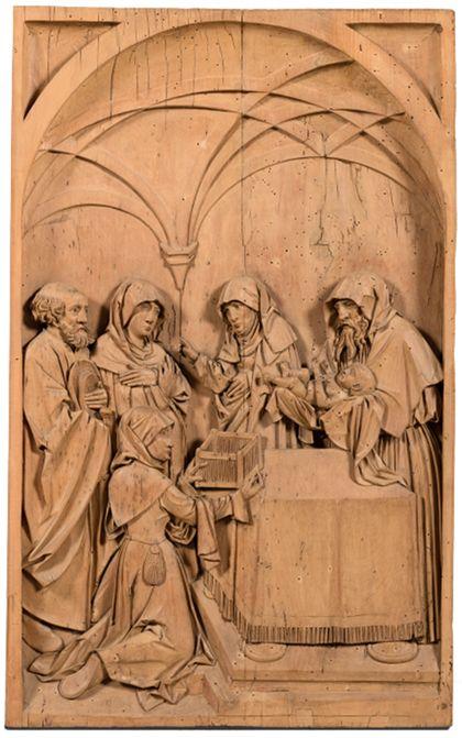 Geschnitztes Flachrelief mit Darstellung der Darbringung Christi im Tempel.