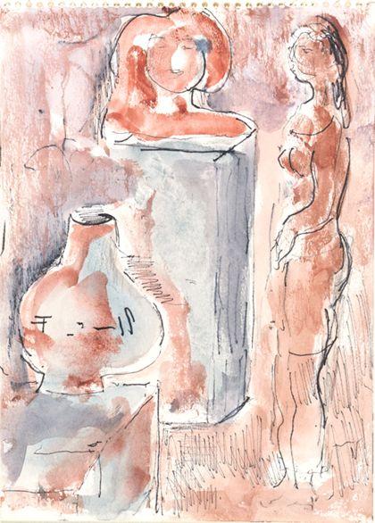 Aquarelll eines stehenden Frauenaktes vor zwei Objekten auf Sockeln