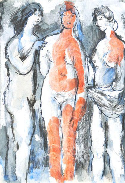 Drei stehende weibliche Akte, teils mit Tüchern und roter Binnenbemalung
