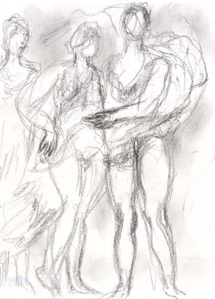 Bleistiftzeichnung dreier Figuren, teilweise als Akte und in Gewändern