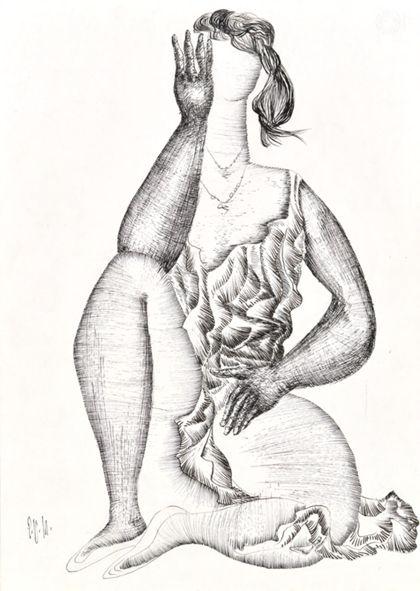 Tuschfederzeichnung einer sitzenden Frau von vorne mit aufgestelltem rechten Bein