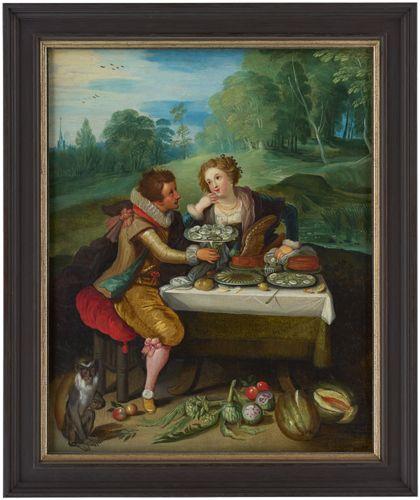 Ein vornehmes Paar sitzt einander zugewandt an reichgedecktem Tisch, Ansicht mit Rahmen.