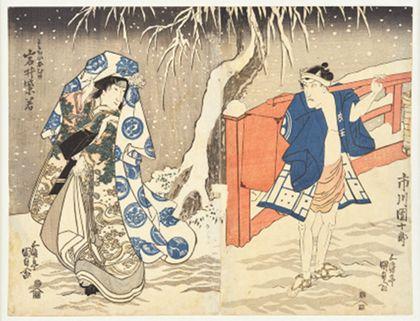Utagawa Kunisada Secret meeting in the snow