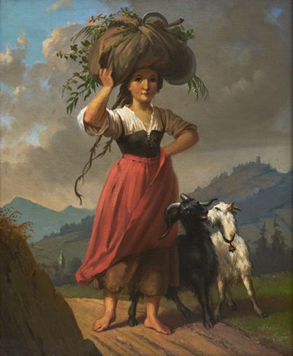 Dominik Weber Peasant Girl with Two Goats, Carrying a Bundle of Hay