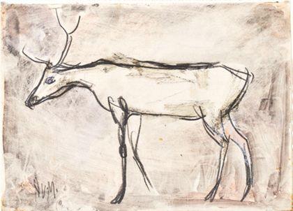 Zeichnung eines Hirsches, nach links gerichtet