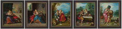 Serie aus fünf Bildern welche mit Geschlechterpaaren Mann und Frau die Serie der fünf Sinne nachstellen.