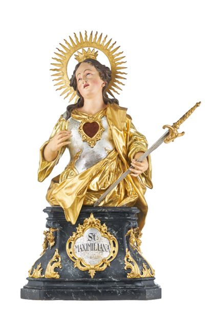 Reliquienbüste der Heiligen Maximiliana auf einem Sockel für die Freiburger Zunft der Tuchmacher und Weber.