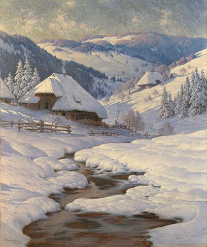 Karl Hauptmann Black Forest Farmhouses in a Winter Landscape
