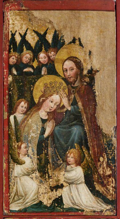 Bildtafel des Staufener Altars: Marienkrönung.