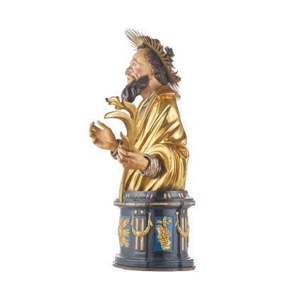 Reliquienbüste des Heiligen Augustus für die Freiburger Zunft der Rebleute, Ansicht von rechts.