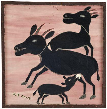 Quadrat- oder Tingatingabild auf dem zwei Kühe mit saugendem Kalb abgebildet sind. Die Tiere haben Hörner.