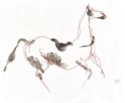 Zeichnung eines Pferdes in Bewegung nach rechts