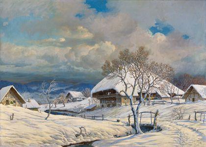 Tief verschneiter Schwarzwälder Hof mit Schwarzwaldhaus und mehreren Nebengebäuden, von einem gefrorenen Bach durchzogen.