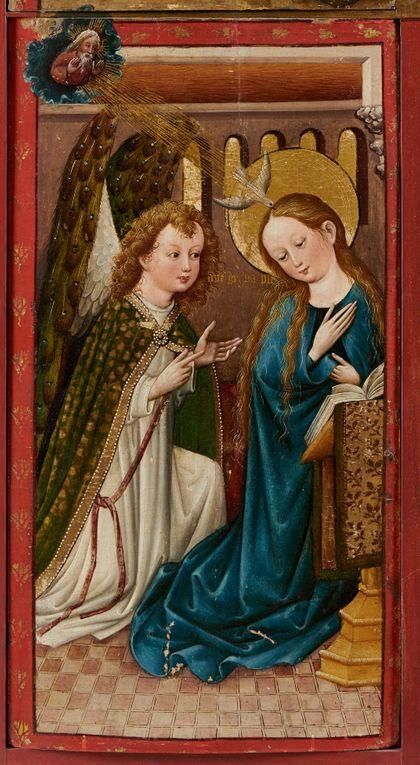 Bildtafel des Staufener Altars mit der Darstellung der Verkündung.