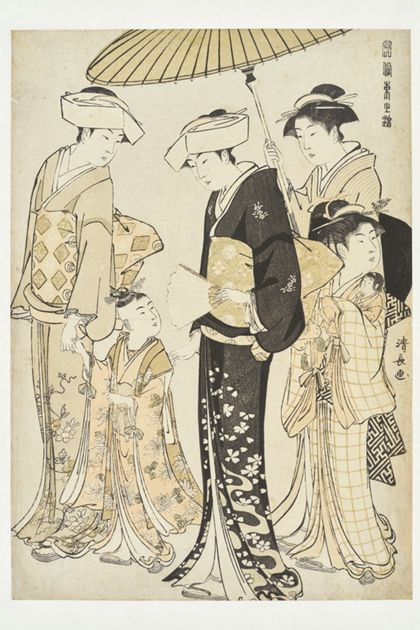 Kiyonaga Torii Promenading Girl with Four Servants from the series »Fashionable Silks of the East«