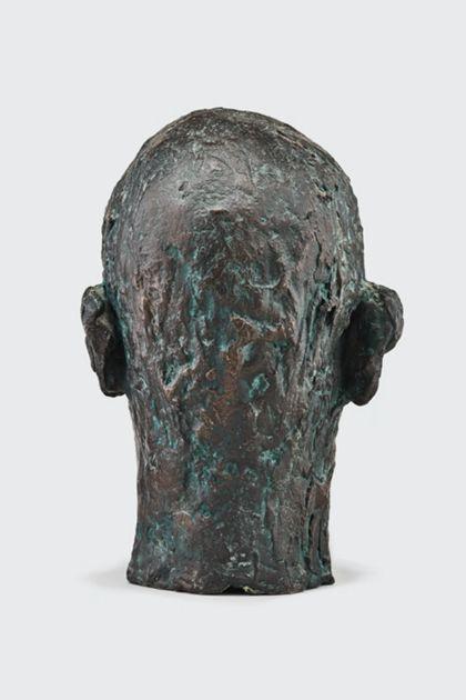 Bronzekopf eines alten Mannes mit zerfurchter Stirn, Rückansicht