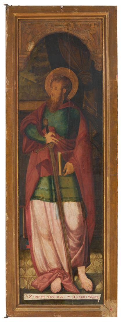 Rückseite des linken Flügels mit Darstellung des Apostel Paulus.