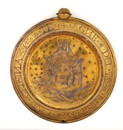 Hostienkapsel mit der heiligen Veronika, vergoldet, graviert.