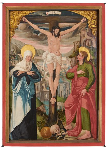 Painting Altarpiece showing the Crucifixion