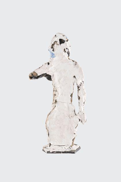 Weiß gefasster weiblicher Torso aus Wachs und Gips, Vorderansicht