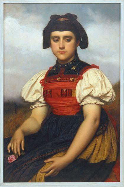 Portrait einer jungen Frau in schwarz-roter Tracht.