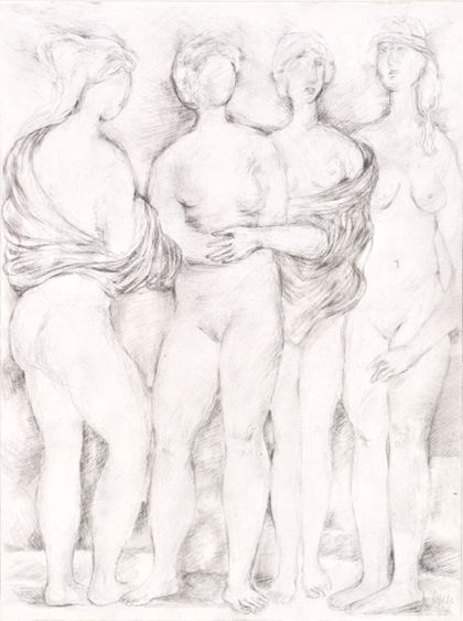 Bleistiftzeichnung von vier Frauen als stehende Akte, teilweise mit Tüchern