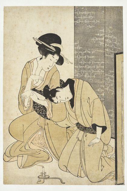 Utamaro Kitagawa Lovers' conversation