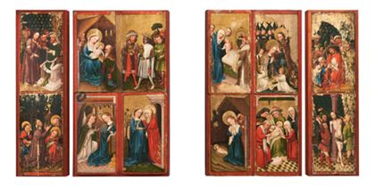 Altarflügel mit Szenen des Marienlebens und der Passion Christi.