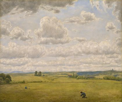 zwei Bauern kniend auf einem Feld arbeitend, im Hintergrund Schwarzwaldlandschaft unter Wolkenhimmel