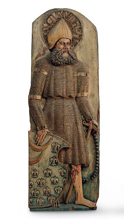 Relief mit der Darstellung Wilhelm von Malevals als Teil eines Flügelaltars.