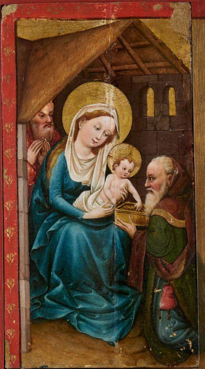 Bildtafel des Staufener Altars: Anbetung der Heiligen Drei Könige, linker Teil.