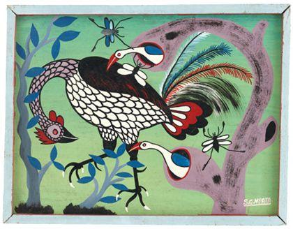 Quadrat- oder Tingatingabild auf dem Vögel, Insekten und Bäume zu sehen sind.